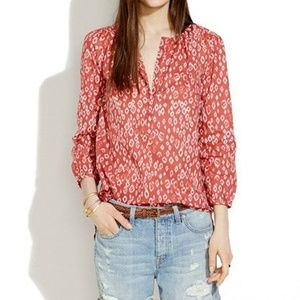 Madewell | Shirred Popover in Leopard Fade Tunic S